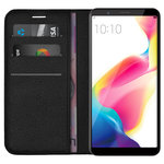 Leather Wallet & Card Slot Holder Case Stand for Oppo R11s - Black